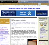 The Christian Science Monitor : Avid Readers Swap Their Books Online
