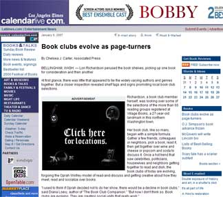 The Los Angeles Times : Book Clubs Evolve As Page-turners
