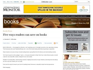 The Chrisitan Science Monitor : Five Ways Readers Can Save On Books
